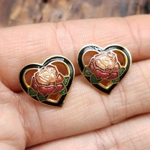NWT Vintage cloisonne stud heart dainty gold rose